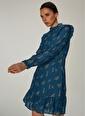 NGSTYLE Volan Detaylı Elbise Lacivert